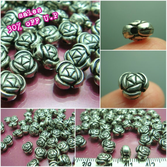 sales -30% / Q506MZ / 100Pc / 400Pc / 8 x 5 mm - Antique Silver Metalized Plastic Rose Bud Bead ( with side hole )