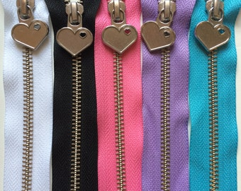 Metal Teeth 12 Inch Zippers with Special Heart Pull - YKK- 5 Pieces-  5 color sampler pack- black, white, pink, lavender, and blue