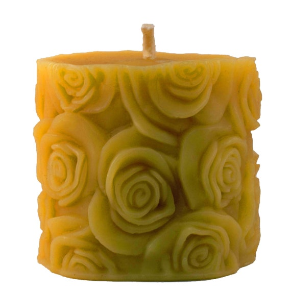 "Rose Textured  Organically Managed Beeswax Pillar Candle 2.5""x3"""
