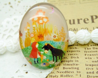 Photo Glass Cabochon Handmade 2pcs 30X40mm Image Glass Cabochon P51--20% OFF