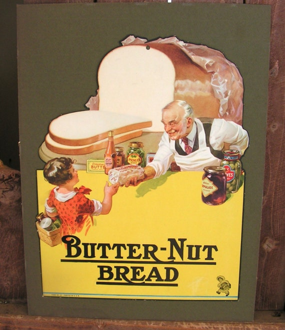 Country Kitchen Bread: Butter Nut Bread Sign Country Store Advertising Kitchen Food