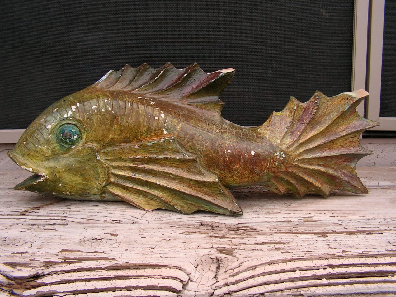 Japanese carp wood carving carved wooden fish statue sculpture