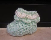 3- 6 Months Sea Foam Green Unisex Crochet Crocodile Trim Booties With White Trim