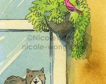 Original ACEO Painting -- Singing birdy at my window