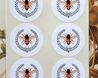 Vintage Style Stickers Envelope Seals Bee Wreath Party Favor Treat Bag Stickers SP004