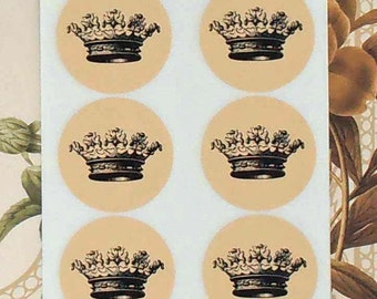 Vintage Style Handmade Stickers Envelope Seals Black Crown Party Favor Treat Bag Sticker SP052