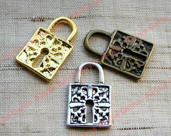 Antique Style Lock Charms Pendants Antique Brass, Antique Silver, Gold -4 Pcs