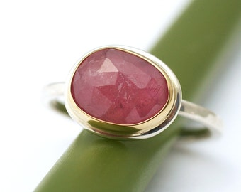 Candy Pink Rose Cut Sapphire in 14k Yellow Gold and Sterling Silver - Modern Engagement Ring or Stacking Ring