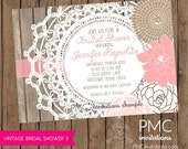 Vintage Shabby Chic Floral Bridal Shower Invitations - 1.00 each with envelope