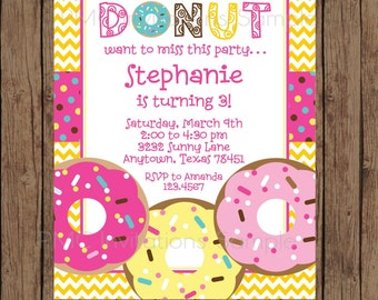 Custom Printed Donut Birthday Invitations - 1.00 each with envelope