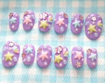 Fairy kei, pastel nail, shooting star, star nail, 3D nails, kawaii nails, Japanese fashion, Japanese nail, nails