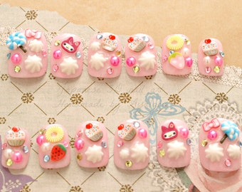 Fairy kei, Harajuku, Japanese 3D nails, pastel, short nails, my melody, lollipop, cupcake, fruit, pearl, pink, sweet lolita, press on nails