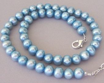 Cornflower blue pearl necklace, blue freshwater pearl necklace, bridal elegance, 8mm pearls