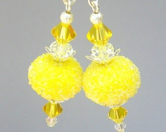 Lemon yellow earrings, artisan lampwork glass, bright yellow sugar and Swarovski crystal, Spring earrings, summery earrings