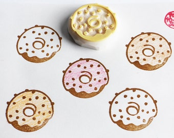 doughnut hand carved rubber stamp. sweet donut stamp. icing coated doughnut. color your own. birthday gift wrapping. holiday scrapbooking
