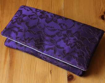 The AMELIA CLUTCH - Blackberry Purple and Eggplant Lace Clutch - Wedding Clutch Purse - Lace Wedding Clutch, Dark Purple Clutch