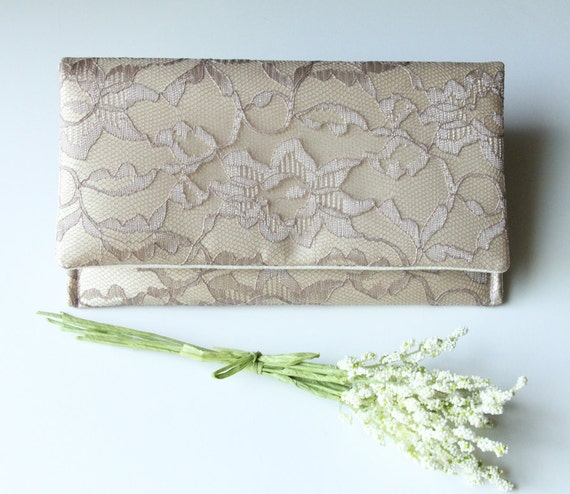 5 Lace Wedding Clutches The AMELIA CLUTCH - Bridesmaid Clutch- Bridesmaid Gift Idea - Taupe/Mocha Lace over Butter Gold Satin