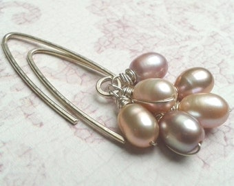 Pastel Pearl Sterling Silver Earrings, Long dangle pearls in light pink shades, Contemporary wire wrapped pearl jewelry, Spring wedding