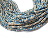 130 coconut beads marblized beige and blue splashing 4-5mm  (PC220B)