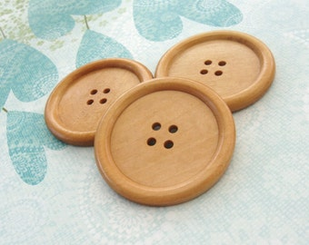 "Natural large wood button - 3 wooden buttons 50mm (2"")  #BB150B"