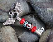 Time Flies Owl on Winged Key necklace - black & white lampwork glass owl with red heart, large  pendant, organza ribbon - free shipping USA