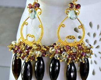 Smokey Quartz Chandelier Earrings, Rubilite Garnet Green Amethyst Gemstone 14k Gold Filled Wire Wrapped Earrings