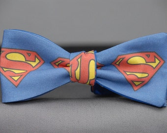Big Superman Shield on Blue  Bow tie