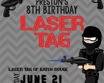 PRINTABLE Laser Tag Birthday Invitation