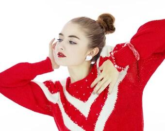 80s Chevron Sweater Red Ugly Christmas Puffy Sleeves Winter 70s Soft Fuzzy Angora Blend Dolman Retro Medium M Small S
