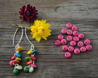 Tagua Nut Lentil Beads: Hot Pink Tagua Lentils *top drilled*, 8mm x 10pcs