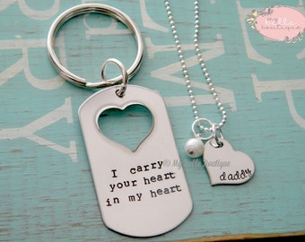 I Carry Your Heart In My Heart Keychain and Necklace Set - Hand Stamped Personalized - Father Daughter Set