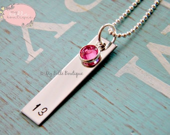 Personalized Hand Stamped Single Rectangle Disc with Swarovski Birthstone