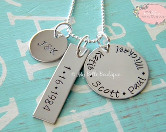 Unique Personalized Hand Stamped Names Necklace on Three Differently Shaped Tags - Round Circle Long Rectangle Square