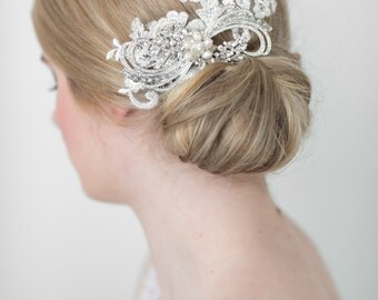 Bridal Hair comb, Freshwater Pearl and Rhinestone Bridal Comb, Wedding Hair Accessory,