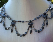 Blue and Silver Beaded Necklace and Earrings Set