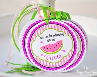 Watermelon Hang Tags, Watermelon Birthday Party,Gift Tags - Set of 12