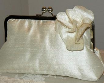 Silk Dupioni Clutch/Purse/Bag..Florette/Rosette..Champagne/Black/Ivory/Red/Silver..Matching Hands Free Wrap..Bridal/Wedding..Free Monogram
