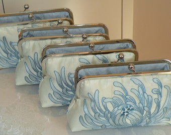Silk Clutch/Purse/Bag..Bridesmaid Gift..Embroidered Floral Chrysanthemum..Something Bridal Blue/Pink Long Island Wedding..Free Monogram