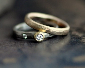 diamond ring set, forged in 14k white and 14k yellow gold with 18k gold tapered bezel