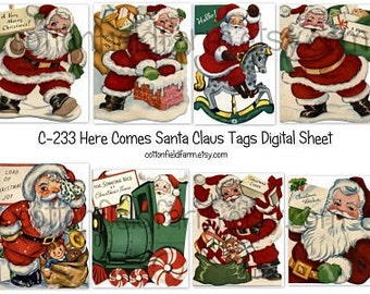 Retro Christmas Santas  Digital Sheet C-233  for Tags, Cards, Scrapbooking, DIY Transfers, Instant Download