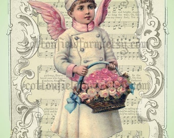 Victorian Angel, Flowers on Music Cottage Pinks and Greens Digital Sheet C-512 Large 5 X 7 for Pillows, Aprons, Totes, Stockings, ECS