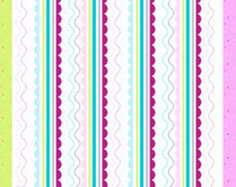 Three In One Border Stripe Storybook Lane by Kelly Lee-Creel for Andover Fabric- 1 yard