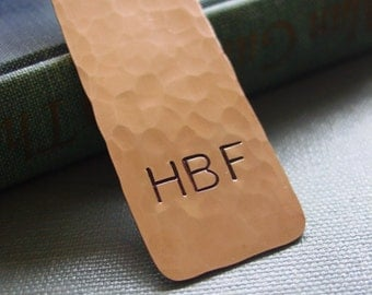 Monogram Bookmark, Copper Gift, Custom, Hand Stamped, Personalized Initials, Groomsman Gift, Thank You Gift, Graduation Gift, Corporate Gift