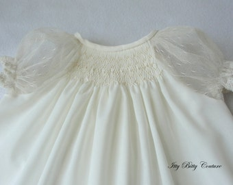 Smocked Baby dress-  White or Ivory Dress - Smocked White or Ivory Christening Dress - Pointe d'Esprit Sleeves in White or Ivory