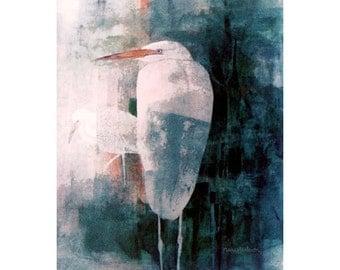 Egret Art Print, Contemporary Watercolor Painting, Egret Bird Art, Water Birds, Marsh Birds, Blue Colors, Modern Wall Decor, 10x8, Limtd Ed.