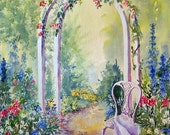 Summer Archway. Digital Download Designer Resource from an original watercolour