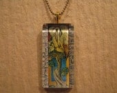 """William Morris Pelican Stained Glass Cartoon Large Rectangle Glass Pendant with 24"""" Ball Chain Necklace Arts and Crafts Jewelry"""