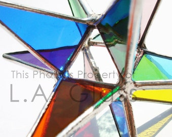 """Large 5.5"""" Multi Colored Stained Glass Moravian Star"""