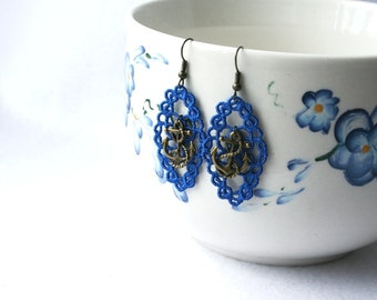 EARRINGS - Diamond Daisy - Royal Blue - Military - US Navy - Anchor - Nautical - Free Standing Lace Embroidery