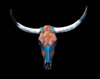Western Southwestern Mosaic Cow Skull with Tempered Glass and Genuine Turquoise